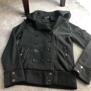 Grey pea coat with hood